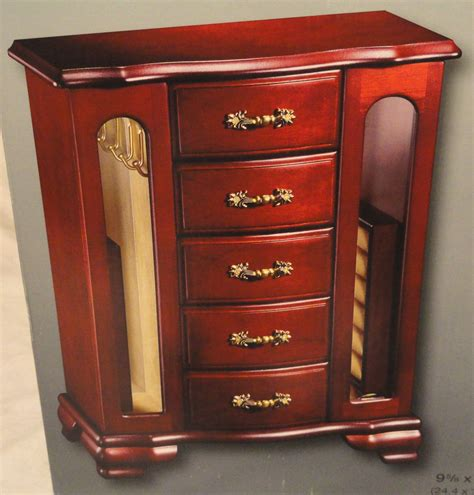 wooden jewellery box with drawers and doors cherry finish wooden jewelry box 5 drawers 2 doors