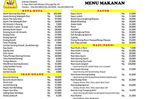menu ayam goreng ny suharti cibubur info kuliner