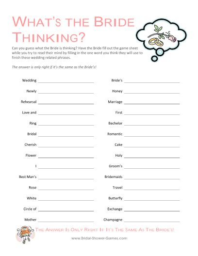 printable bridal shower games for free quot what s the bride thinking quot game bridal shower games com
