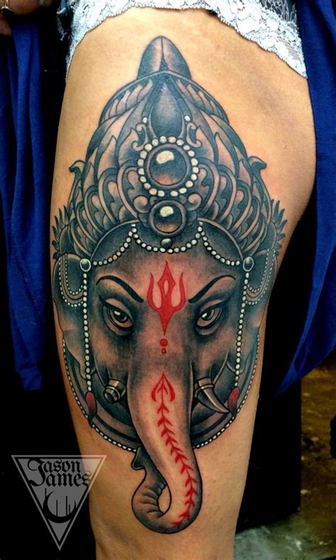 ganesh tattoo traditional ganesh thigh tattoo neo traditional japanese and