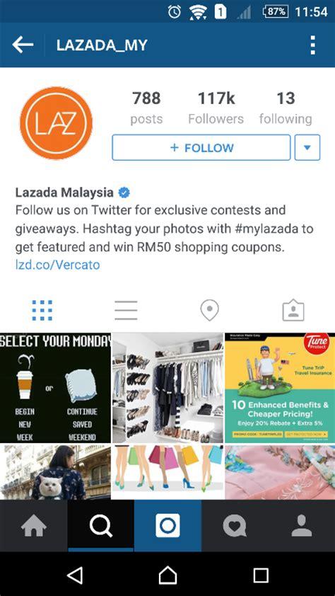 Bio Lazada top 10 malaysian brands on instagram