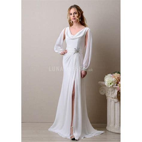 Sleeve Cowl Neck Dress special cowl neck chiffon sheath column sleeves
