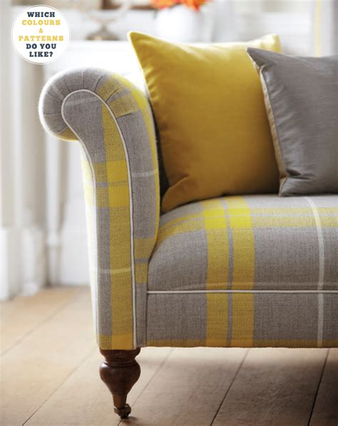 grey check sofa yellow grey plaid sofa home decorating diy
