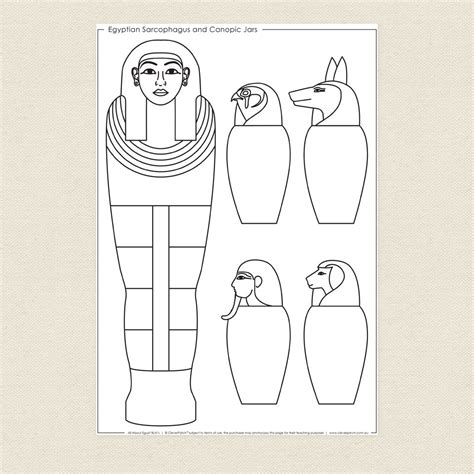 how to color jars sarcophagus and canopic jars colouring sheet