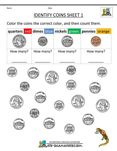 free printable coin worksheets for kindergarten kindergarten printable worksheets identify coins 1 gif