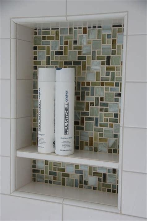 Bathroom Vanities Long Island Ny Glass Mosaic Shampoo Niche With White Tile Shelf In Shower