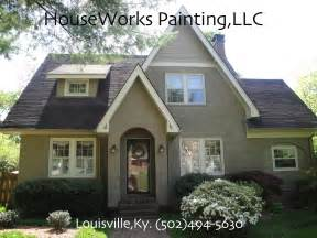 Residential painting houseworks on the bricks exterior house