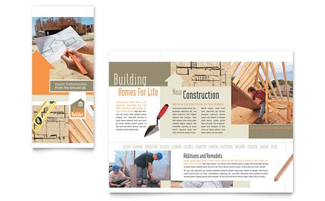 construction flyer templates home building carpentry brochure template word publisher