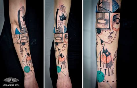 cubism tattoo uk artist duo create cubist tattoos inspired by clients