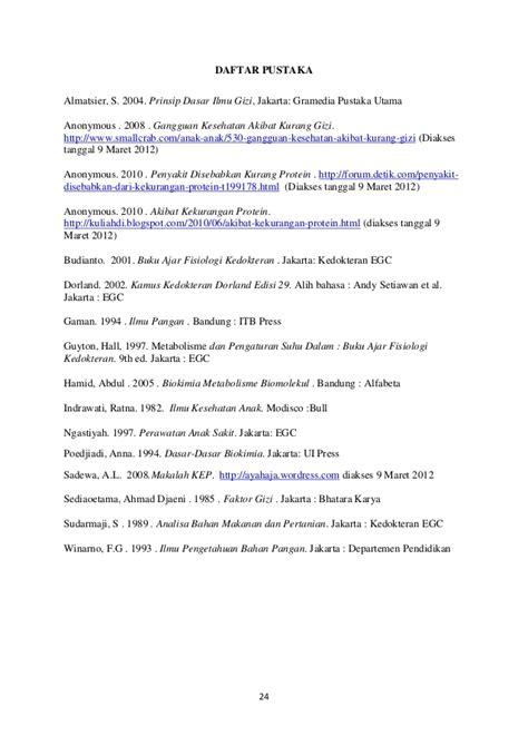 Pustaka Ilmu Makanan Dan Gizi makalah kwashiorkor kimia pangan kuliah semester 7