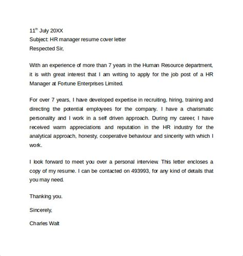 Cover Letter For Resume Hr Manager Sle Resume Cover Letter Exle 11 Free Documents In Word Pdf