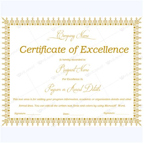 certificate of excellence template 89 award certificates for business and school events