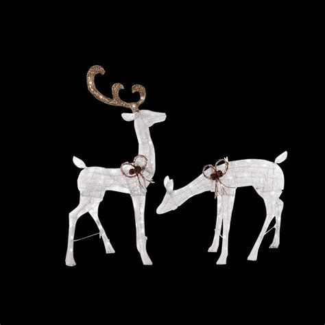 home accents 66 in led home accents 48 in led lighted white glitter pvc deer and 27 in led lighted white