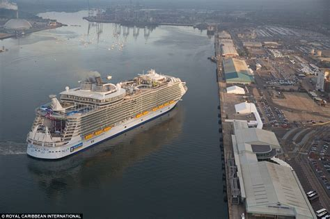 harmony of the seas harmony of the seas makes titanic look a minnow as it docks in britain daily mail