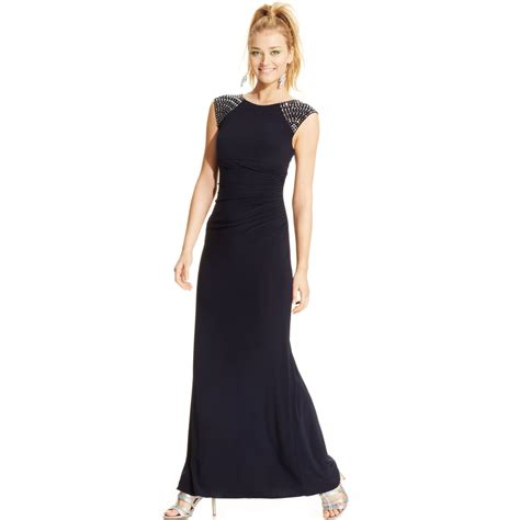 xscape beaded dress xscape capsleeve beaded ruched gown in blue navy lyst
