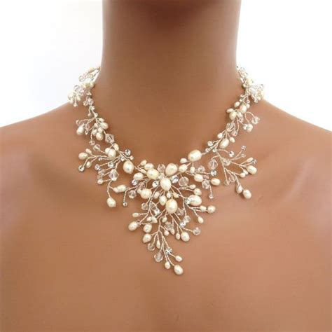 braut collier bridal necklace pearl necklace wedding jewelry set