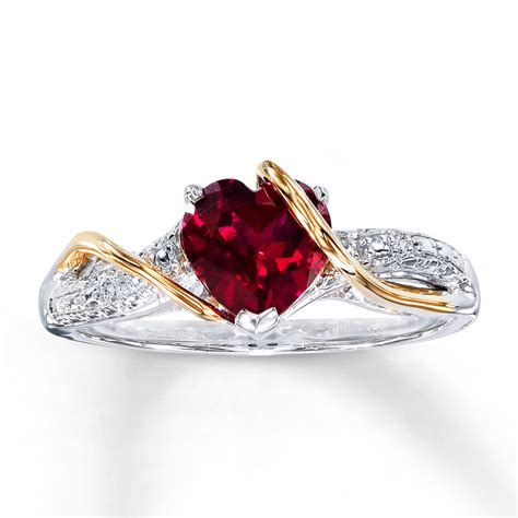 jared lab created ruby ring accents sterling