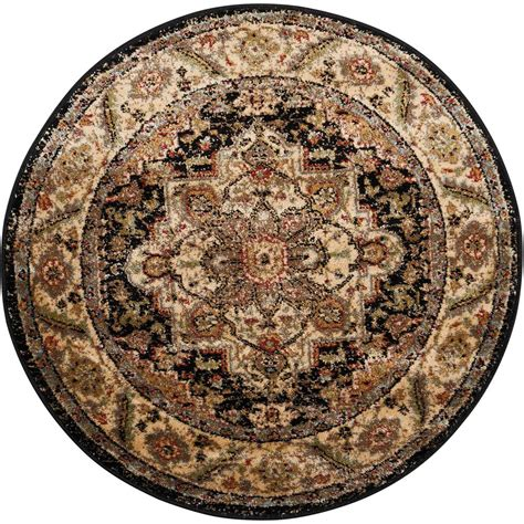 Nourison Delano Black 3 Ft 4 In Round Area Rug 371041 3 Foot Rugs