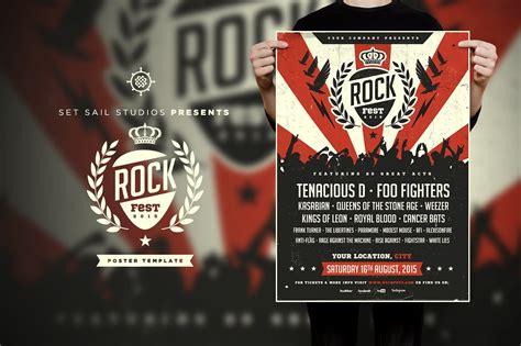 rock flyer template rock poster flyer templates creative market