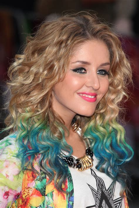 dyed curly hairstyles terrific trend of curly hairs with dye highlights