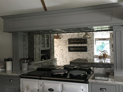 antique mirror glass splashback aga in a country