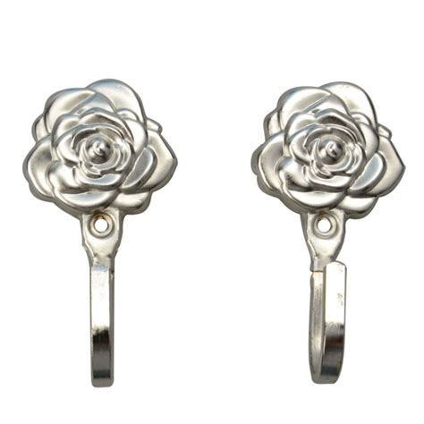 decorative curtain hooks one pair rose pattern metal curtain hooks wall decorative