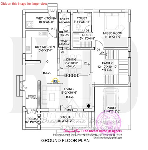 3d ground floor plan 1700 sq feet 3d house elevation and plan