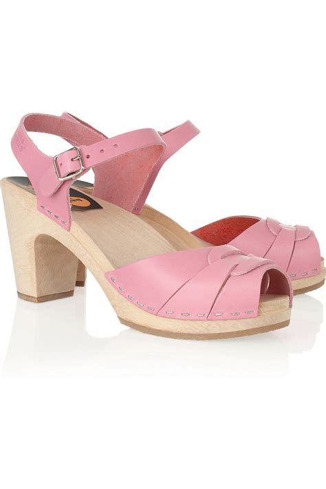 clog sandals for swedish hasbeens high leather clog sandals in pink
