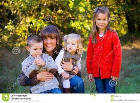 single moms with feminine sons mother with three kids royalty free stock photos image