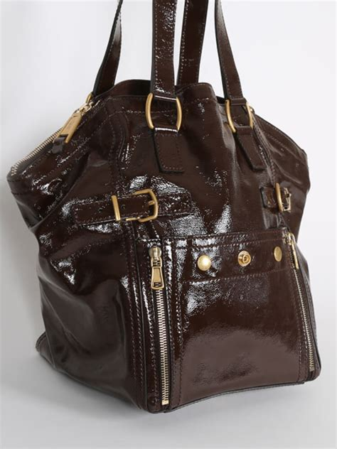 Richardss Yves Laurent Downtown Tote by Yves Laurent Downtown Patent Brown Tote Luxury Bags