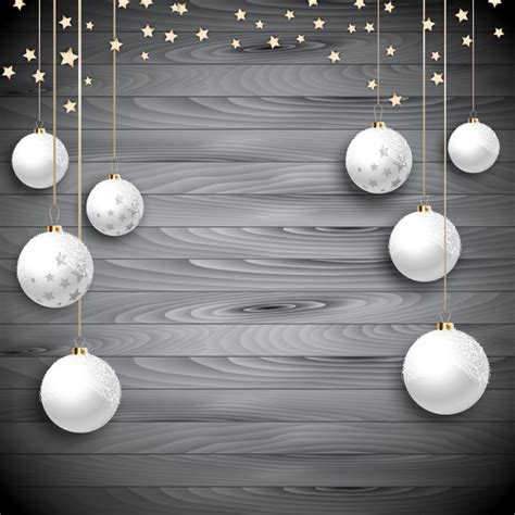 white christmas balls on wood vector free download