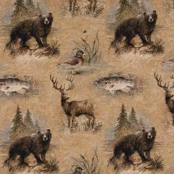 bears fish ducks deer and trees themed tapestry upholstery