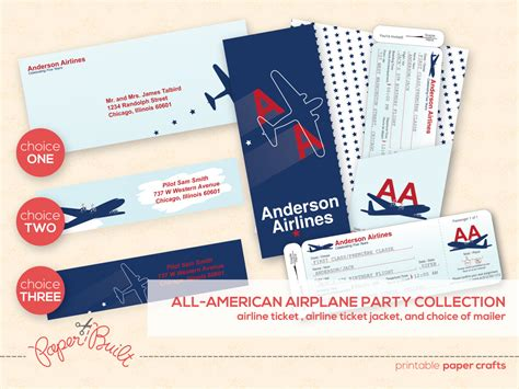 Printable Airplane Party Airline Ticket Invitation Package Airline Ticket Invitation Template