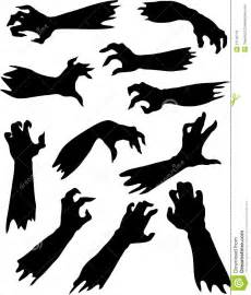 Scroll Tree Wall Stickers scary zombie hands silhouettes set royalty free stock