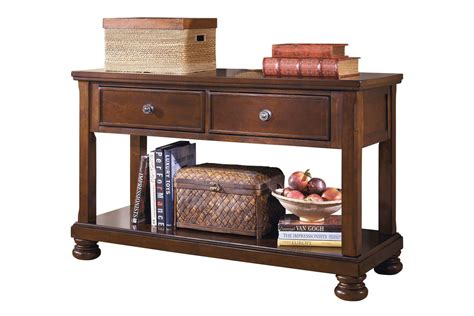 brown sofa table porter console sofa table in rustic brown by at