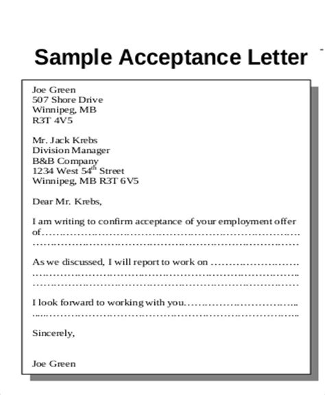 Offer Letter Matter Sle Acceptance Letter 7 Exles In Word Pdf