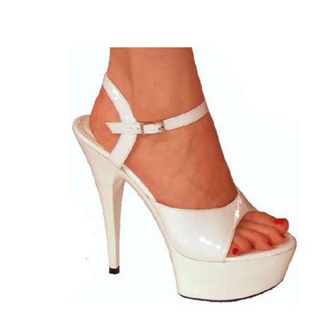 High Heel Brukat White white patent high heel platform shoes sandals 3 12 ebay