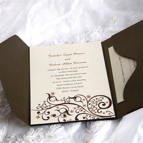 Beautiful Wedding Invitations by Exquisite Beautiful Swirls Pocket Wedding Invitations