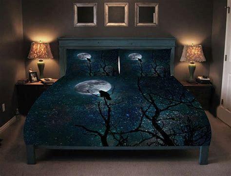 gothic bedding comforter  duvet cover raven crow tree moon night sky twin queen king