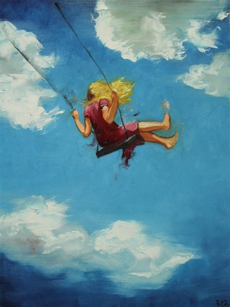painting of woman on swing swing painting 85 18x24 inch portrait original oil painting by