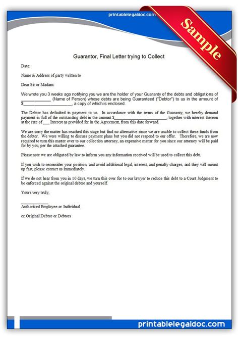 guarantor letter template free printable guarantor letter trying to collect