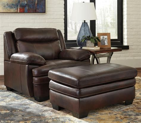 ashley leather chair and ottoman signature design by ashley hannalore contemporary leather