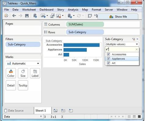 tableau quick start tutorial tableau quick filters