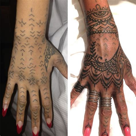 rihanna modifies maori hand tattoo to incorporate henna
