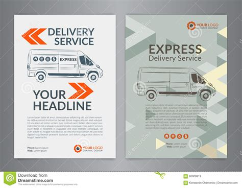 set a4 express delivery service brochure flyer design layout template stock vector image