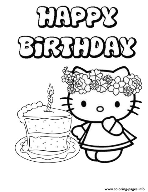 kitty single cake birthday coloring pages printable