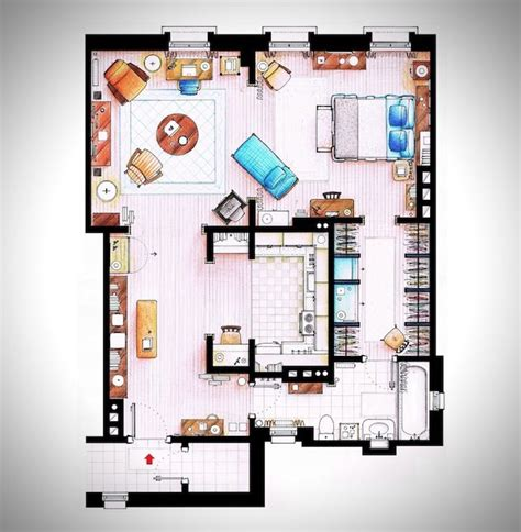 hand rendered floor plan hand rendered floor plans of your favorite tv characters