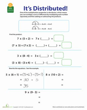 free printable worksheets distributive property multiplication properties of multiplication distributive