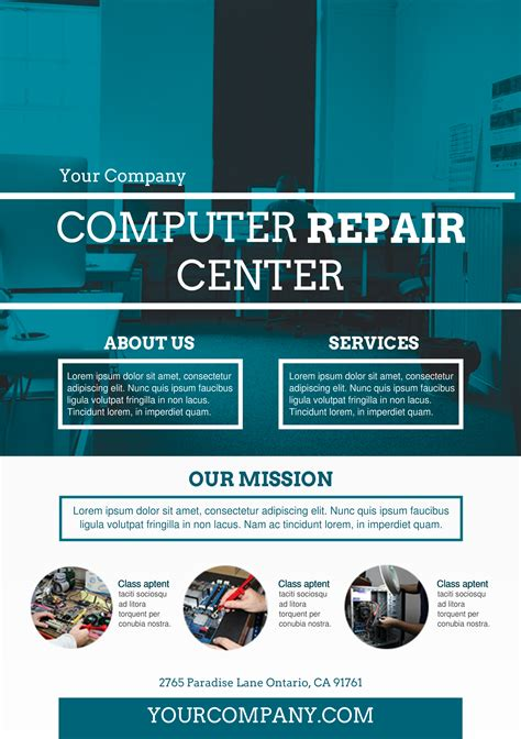 Computer Repair Services A5 Promotional Flyer Http Premadevideos Com A5 Flyer Template Computer Repair Ad Template
