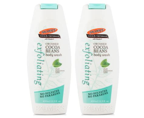 Palmers Cocoa Butter Formula Sulfate Free Wash 400ml 2 x palmer s cocoa butter formula exfoliating wash peppermint 400ml great daily deals at